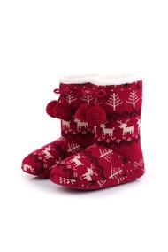 Home ugg boots with plush pom-poms