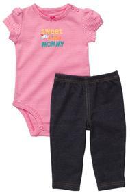 Комплект для девочки: Бодик с коротким рукавом и леггинсы, хлопок
