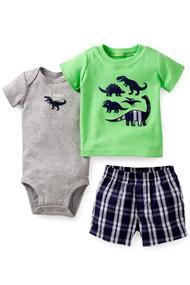 Комплект для мальчика: бодик, шортики и футболка, хлопок