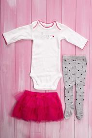 Комплект для девочки: бодик, колготки и юбочка , хлопок