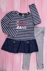 Комплект для девочки :Удлиненная кофточка и леггинсы, хлопок