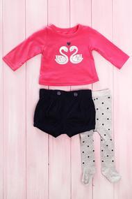 Комплект для девочки: шортики, кофточка с длинным рукавом и колготки, хлопок