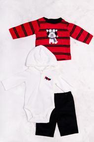 Комплект для мальчика: бодик с длинным рукавом и капюшоном, кофточка и штанишки , хлопок