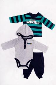 Комплект для мальчика: бодик с длинным рукавом, штанишки и кофточка, хлопок