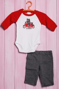 Детский костюмчик: бодик с длинным рукавом и штанишки, хлопок