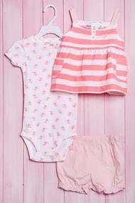 Комплект для девочки: бодик с коротким рукавом, маечка и шортики, хлопок