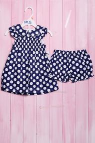 Набор в горошек для девочек: платье и шортики, хлопок