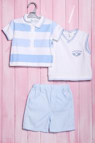 Комплект для мальчика: футболка поло, шортики и жилетка, хлопок