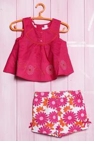 Комплект для девочки: Платье и шортики, хлопок
