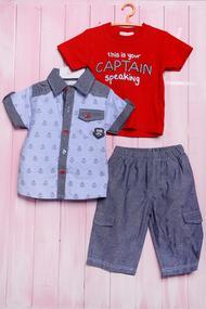 Летний комплект для мальчика: футболка, тенниска и шортики, хлопок, код 56409, арт 502