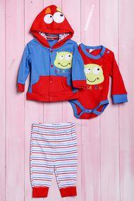 Комплект для мальчика: боди с длинным рукавом, штанишки и кофточка с капюшоном, хлопок