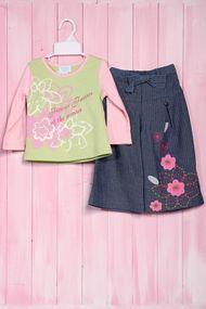 Костюм для девочки: кофточка с длинным рукавом и юбка, хлопок