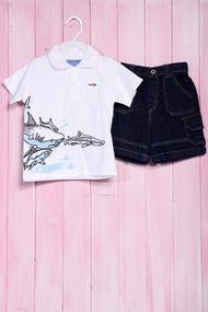 Костюмчик для мальчика: футболка поло и шортики, хлопок, код 56455, арт 20393