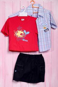 Летний комплект для мальчика: футболка, тенниска и шортики, хлопок, код 56466, арт 20400