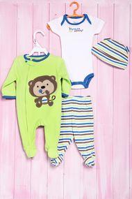 Комплект для мальчика: бодик с коротким рукавом, ползунки, человечек и шапочка, хлопок