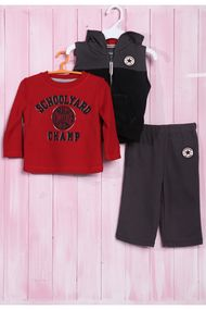 Комплект для мальчика: джемпер, жилетка на молнии и штанишки, хлопок, код 56574