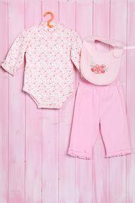 Комплект для девочки: боди с длинным рукавом, штанишки и слюнявчик, хлопок, код 56585, арт 76