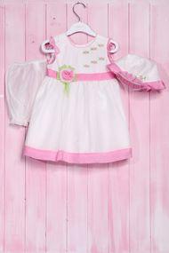 Комплект: Нарядное платье для девочки, шортики и панамка