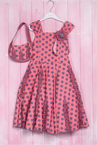 Набор: нарядное платье для девочки с пышной юбкой и сумочка, хлопок