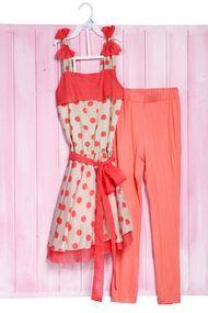 Костюм для девочки: укороченное платье и леггинсы, хлопок, код 56628, арт 55232