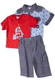 Комплект для хлопчика: сорочка з коротким рукавом на ґудзиках, футболка і штанці, бавовна