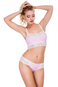 Set of underwear: bra with soft cup and Brazilian panties, cotton