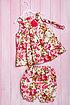 Комплект летний для девочки: платье, шортики и повязка, хлопок